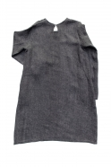 Flared dress, long sleeves, round neck, grey heavy linen