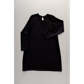 Flared dress, long sleeves, round neck, black flannel