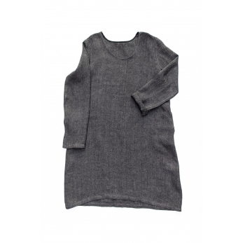 Flared dress, long sleeves, U neck, grey heavy linen
