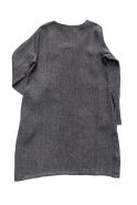 Flared dress, long sleeves, squared neck, grey heavy linen