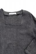 Robe évasée manches longues, col carré, lin épais gris