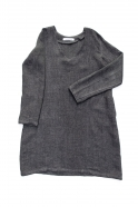 Flared dress, long sleeves, V neck, grey heavy linen