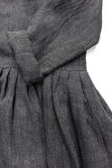 Pleated dress,  long sleeves, grey heavy linen