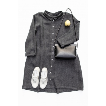 Shirt-dress, grey heavy linen