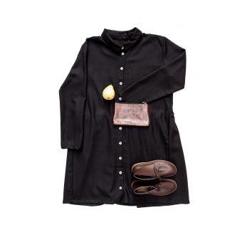 Shirt-dress, black flannel