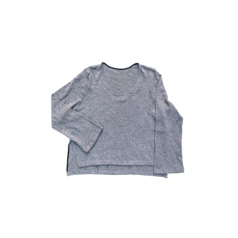 Flared sweater, grey heavy knit