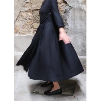 Wrap dress, black flannel