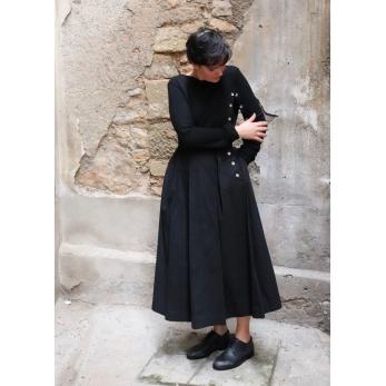 """""""Trompe l'oeil"""" dress, black denim"""