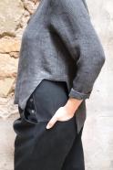 Open top, grey heavy linen