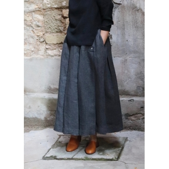 Pleated skirt, grey heavy linen