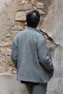 Flared jacket, herringbone wool drap
