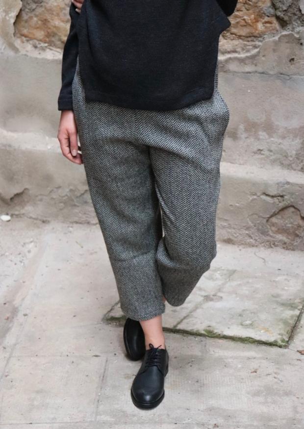 Classic trousers, herringbone wool drap