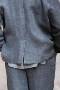 Veste tailleur, lin épais gris