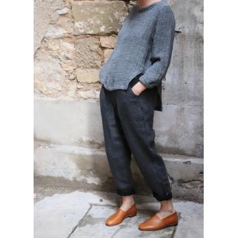 Woman trousers, grey heavy linen