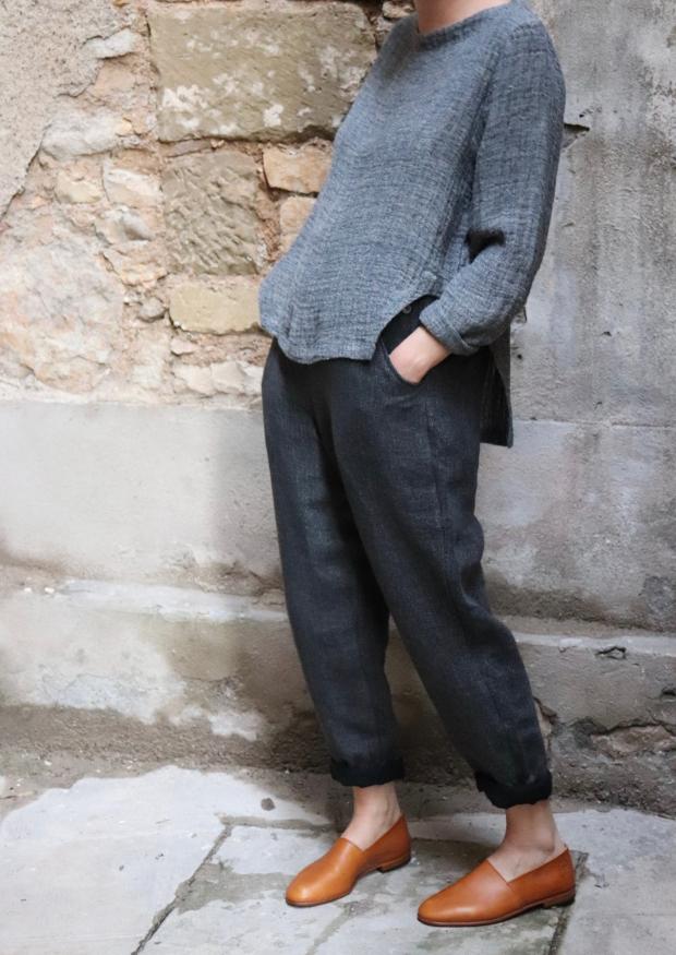 Pantalon Femme, lin épais gris