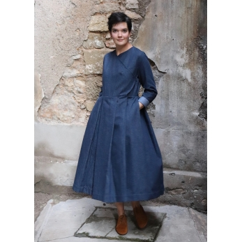 Wrap dress, blue recycled denim