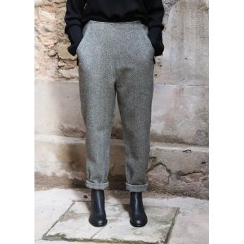 Woman trousers, herringbone wool drap