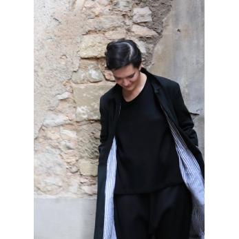 Flared coat, black denim