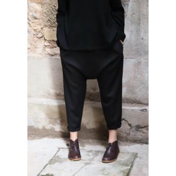 Pantalon sarouel, flanelle noire