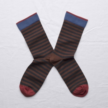 """Stripe"" socks, chestnut brown"