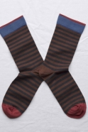 """Chaussettes """"Rayures"""" chataigne"""