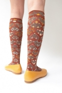 """Seedling"" knee-highs socks, sepia"