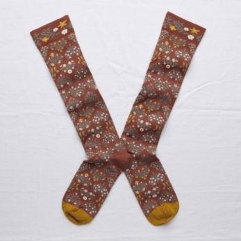 """""""Seedling"""" knee-highs socks, sepia"""