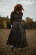 Robe porte-feuille, lin épais gris