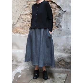 Long skirt, grey heavy linen