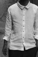 Chemise mixte pour homme, lin blanc