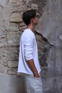 Pull mixte, maille coton blanc