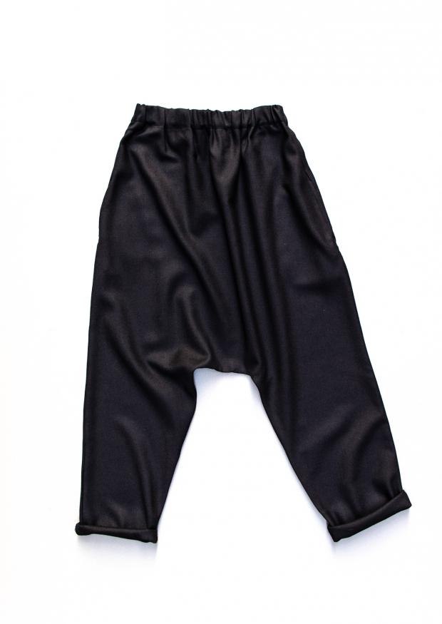 Pantalon sarouel pour homme, flanelle noire