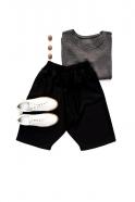Unisex short, black flannel