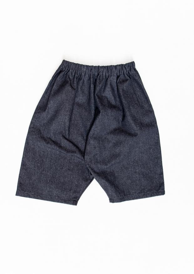 Unisex short, blue recycled denim