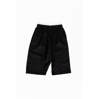 Unisex short, black wool drap