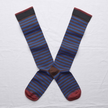 """Stripe"" knee-highs socks, chestnut"