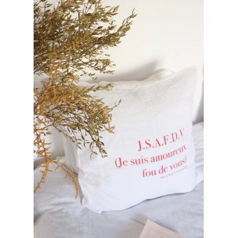 """Taie d'oreiller """"JSAFDV"""" rouge"""