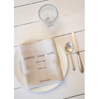 """Serviette de table """"Carte des vins"""" naturel"""
