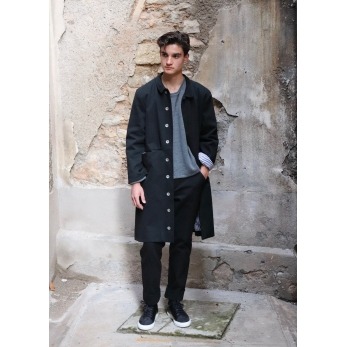 Flared coat, black denim