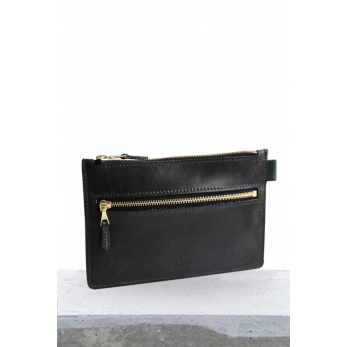 Leather Zip Purses brown