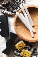 Wooden Zig Zag black candlestick