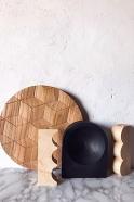Bougeoir en bois arrondi naturel