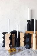 Wooden Hollow black candlestick