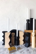 Wooden Cylindrical black candlestick