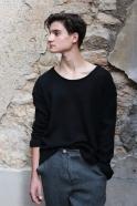 Pull mixte pour homme, jersey épais noir