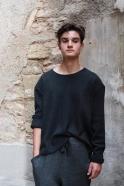 Pull mixte pour homme, jersey épais gris sombre