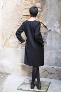 Robe évasée manches longues, col profond, flanelle noire