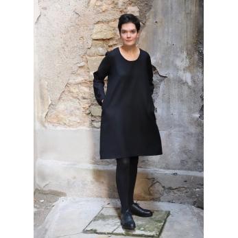 Flared dress, long sleeves, U neck, black flannel