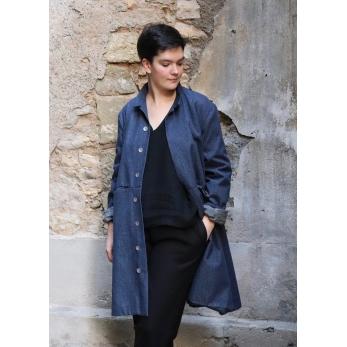 Flared coat, blue recycled denim