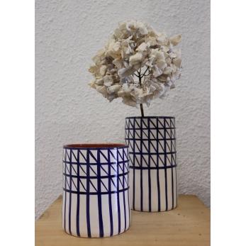 "Vase ""Croix"" bleu"